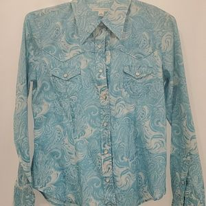 Blue paisley button down blouse